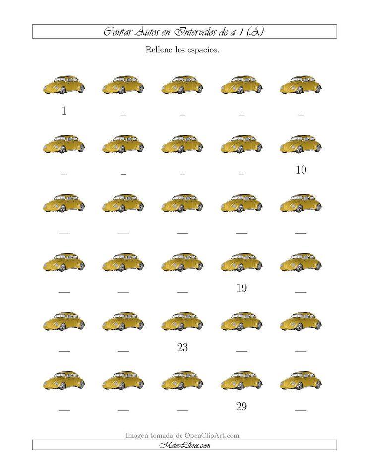 La hoja de ejercicios de matemáticas de Contar Autos en Intervalos de a 1 (A) de la página Hojas de Ejercicios de Sentido Numérico en MatesLibres.com.