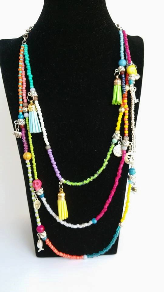Layering Necklace  Colourfull Mixedmedia Summer by TresJoliePT