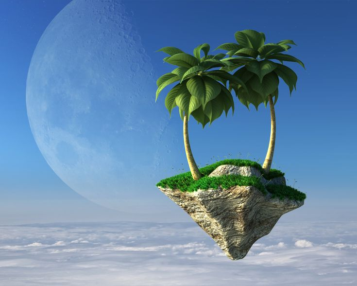 Palm trees on a flying island