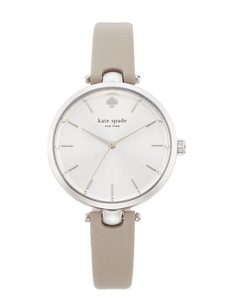 holland skinny strap watch, grey/stainless, kate spade
