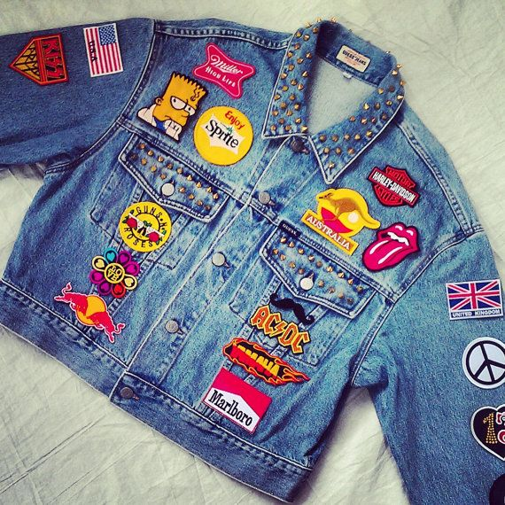 Reworked Vintage Guess Jean Jacket with Studded and Patches by KodChaPhorn from Bangkok on Etsy