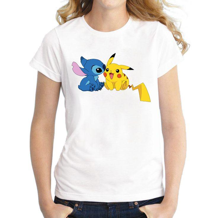 2016 Newest Pokemon Go Women T Shirt Short Sleeve Pokebenders T-shirt Pikachu Stitch Printed Funny Tee Shirts