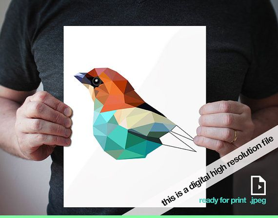 "printable digital version -Black-Backed Tanager - 11""x14"" - Geometric - Bird art - green, blue, red"