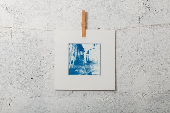 Old Scanno town Abruzzo 5x5 #cyanotype #print #art #artdeco #walldeco #scanno #italy #abruzzo #etsy
