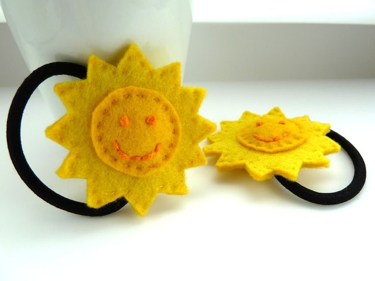 Punky Brewster sun hair ties, adult size - yellow, sunny, sunshine, happy, smile, smiley,  hair bands, hair bobbles. £5.00, via Etsy.
