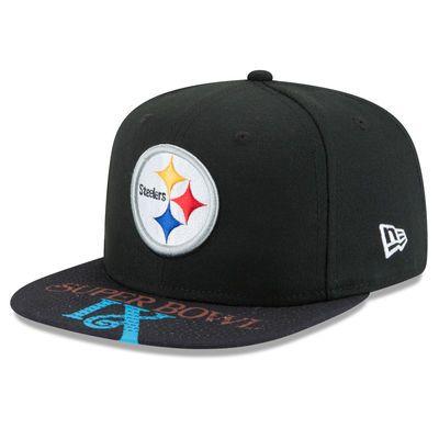 Men's New Era Black Pittsburgh Steelers Super Bowl IX On The Fifty Jumbo Vize Original Fit 9FIFTY Adjustable Hat