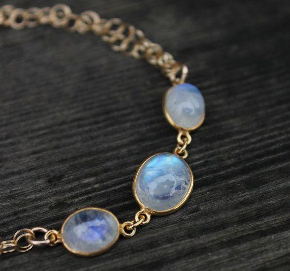 Arc en ciel or Pierre de lune Bracelet Bracelet de par OhKuol