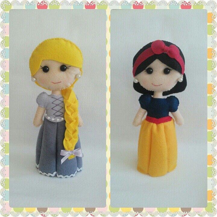 #Princesas #disney #bonecas #feltro #Rapunzel #BrancadeNeve