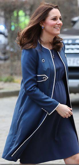 Jenny Packham blue contrast trim coat with matching maternity dress