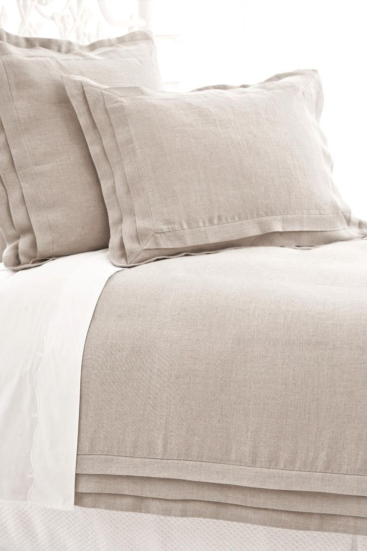 linen duvet cover & shams from pinecone hill love the details & natural feel