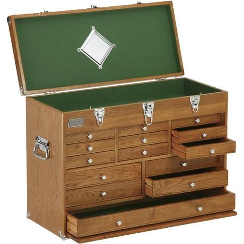 Grizzly H8266 - Machinist's 14 Drawer Oak Chest for $185
