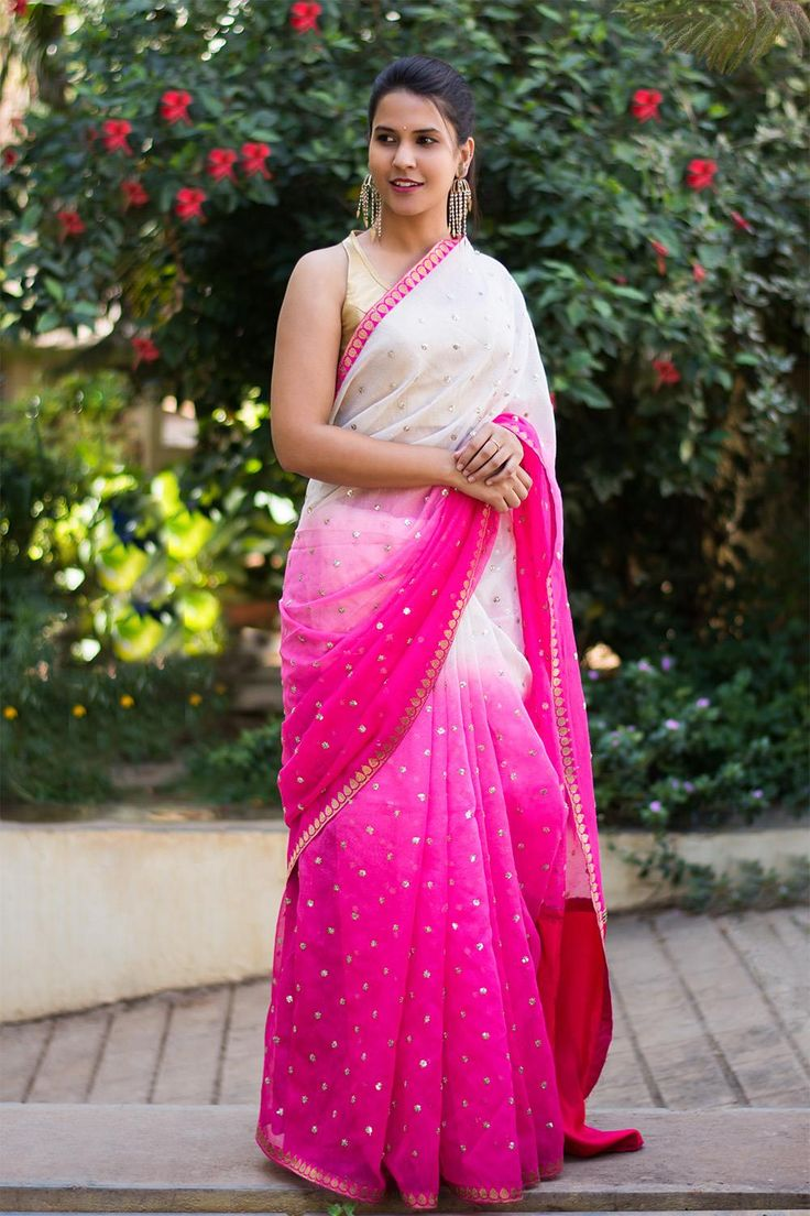 Fuchsia pink to cream shaded chanderi jute saree with sequin work and pink zari border #saree #houseofblouse #jute #embroidery #sequin #shaded #ombre #pink #cream
