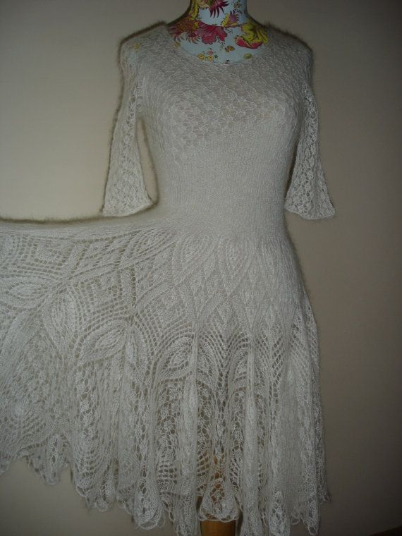 Hand Knitted Dress Patterns : New hand knitted mohair white lace dress by ViolaShop on Etsy, ?300.00 GORGEO...