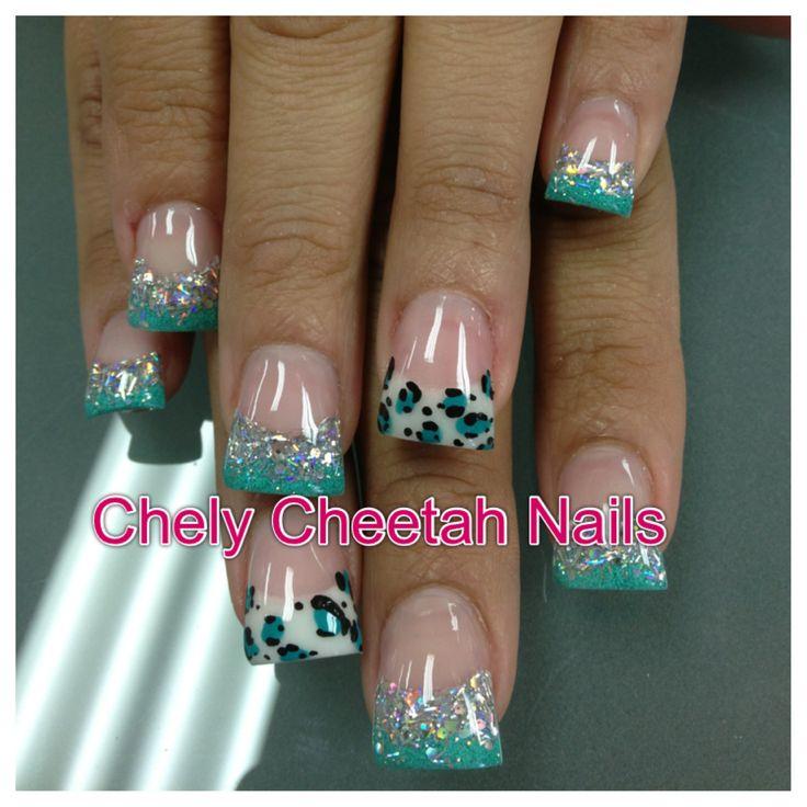 Chely Cheetah Nails. Acrylic nails. Turquoise cheetah rockstar duck feet nails.
