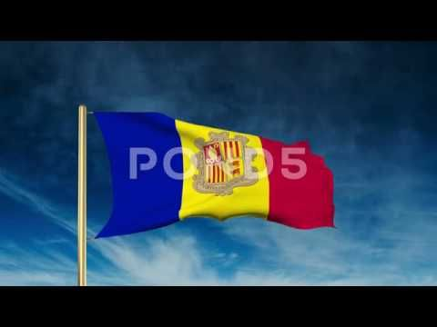 Andorra Flag Slider Style. Waving In The Win With Cloud Background Animation - http://quick.pw/1g5c #travel #tour #resort #holiday #travelfoodfair #vacation