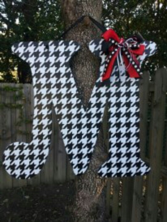 Roll Tide! Alabama wooden letter door hanger, decoupaged with houndstooth fabric