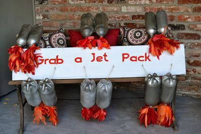 DIY Jet Packs from soda bottles for rocket ship birthday party #outerspace #rocket party