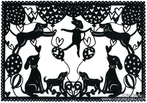 Paper Cut Work: Dogs  #dog #paper cut #cute illustration #kawaii