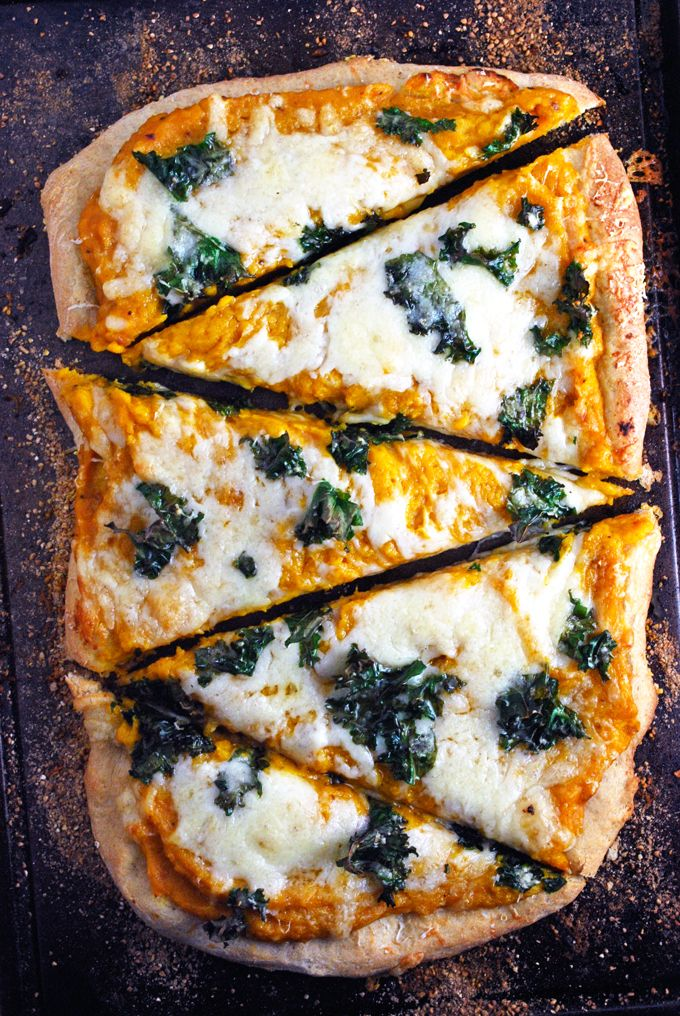 Butternut Squash and Kale Pizza - Yummy! This vegetarian pizza is full of vitamins, texture, and flavor! That sauce alone is so rich, creamy and healthy. Full recipe at theliveinkitchen.com