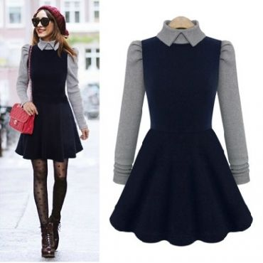 Fashion Peter Pan Collar Long Sleeve Pleated Navy Blue Knitting Mini Dress_Dresses_Womens Clothing_Cheap Clothes,Cheap Shoes Online,Wholesale Shoes,Clothing On lovelywholesale.com - LovelyWholesale.com