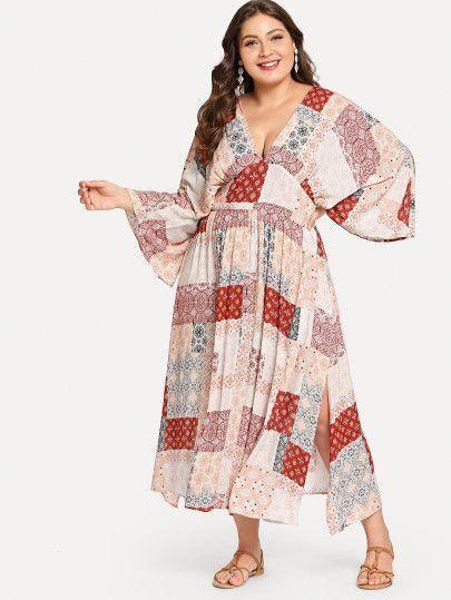 SHEIN Plus Kimono Sleeve Patchwork Print Dress plus size clothing ...