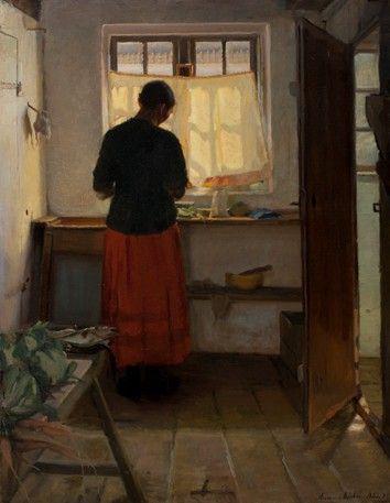 Titel: Pigen i køkkenet 1883 og 1886 Malet af Anna Ancher