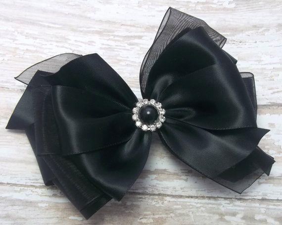 Large Black Satin Dressy Hair Bow Black by JustinesBoutiqueBows