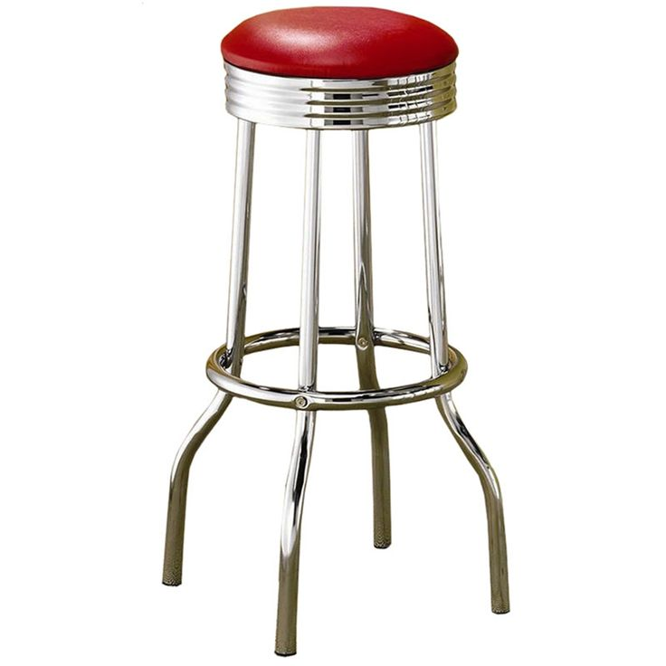 Retro Design Soda Fountain Bar Tableu003cliu003eWhite Round Table Has A Rippled  Chrome Rim With Achrome Pedestalu003cliu003eBar Stools Available In Red Or Black