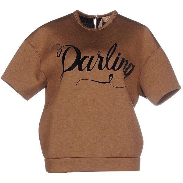 N° 21 Sweatshirt ($285) ❤ liked on Polyvore featuring tops, hoodies, sweatshirts, camel, short sleeve sweatshirts, pocket sweatshirt, brown tops, short sleeve tops and brown sweatshirt