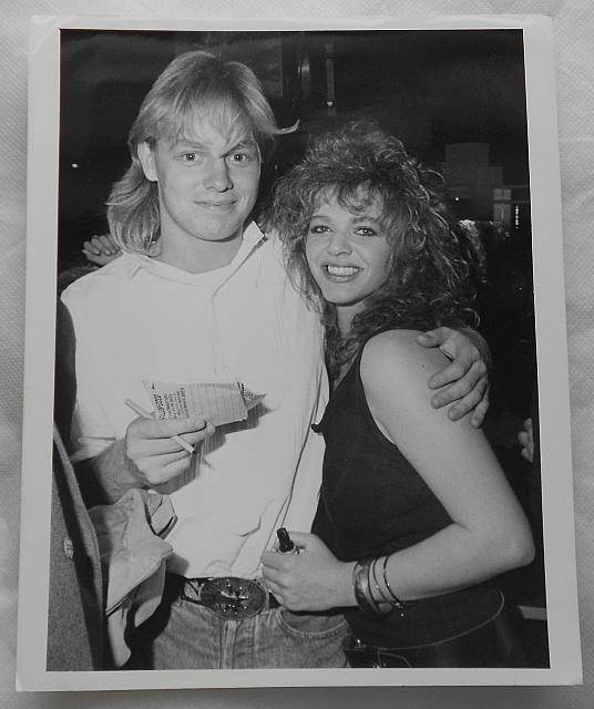 Photograph of Neighbours Star and Singer Jason Donovan, 19 with Model, Laura Marsh, 20 at Easy Street Nightclub in Croydon - just the beginning ....
