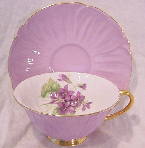 Shelley Bone China Oleander Shape Violets Cup and Saucer Purple Gold and White | eBay