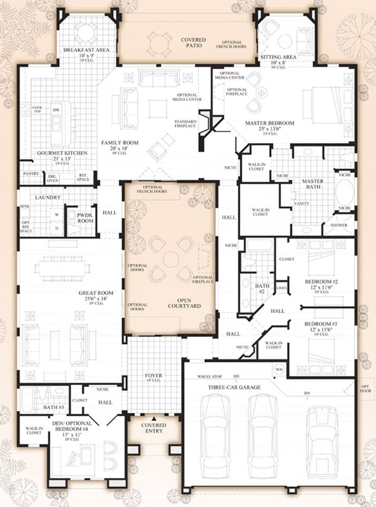 2718 best images about floor plan fanatic on pinterest for Apartment plans with courtyard