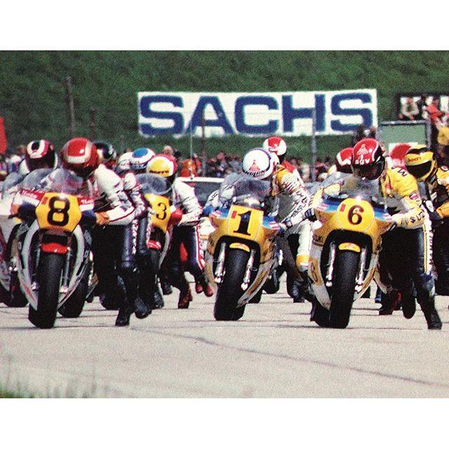 1983 FIM World Grand Prix GP500 3 Randy Mamola 1 Franco Uncini 8 Takazumi, Sheene just behind him & Stavros 2 rows back.