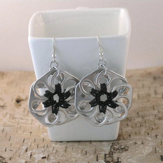 crochet black pop tab flower earrings