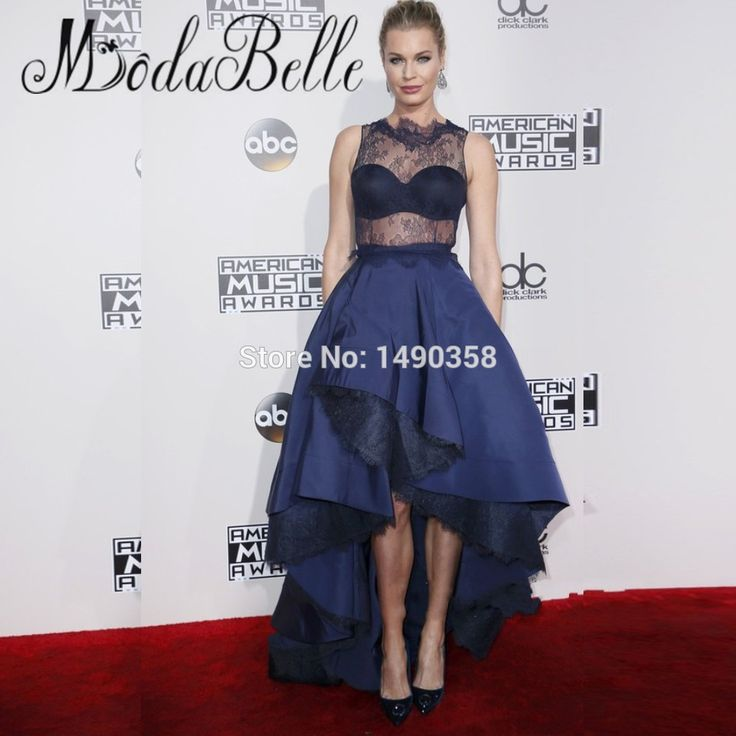 American Music Awards Celebrity Dresses Rebecca Romijn Lace Sheer Vestido Noite Black Navy Blue Prom Dress Short Front Long Back