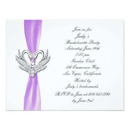 Purple Ribbon Silver Swans Bachelorette Party Card - wedding party gifts equipment accessories ideas