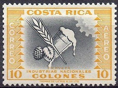 Costa Rica, 1954. Beer - National Industry. Glass beer mug, barley and hops
