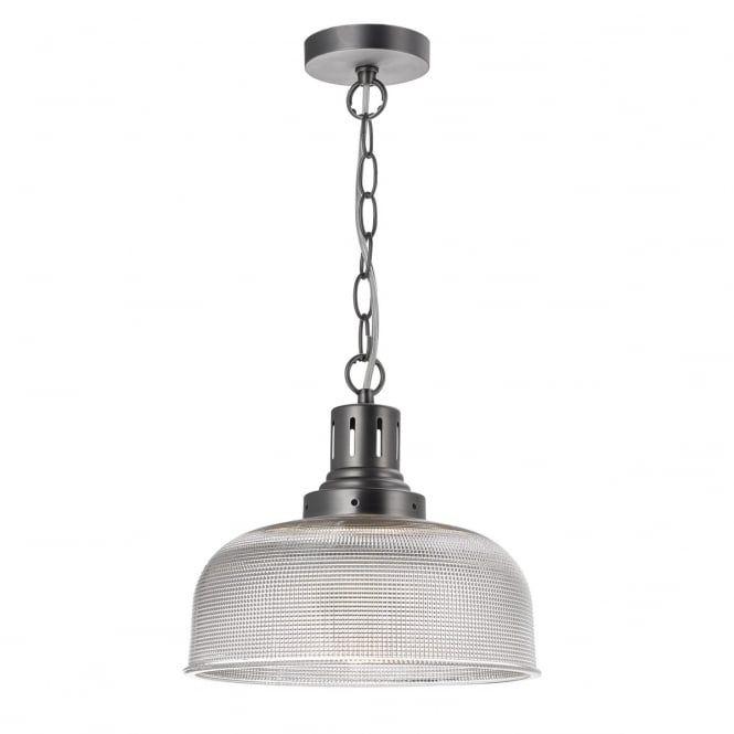 Dar TAC0161 Tack 1 Light Ceiling Pendant Industrial Nickel