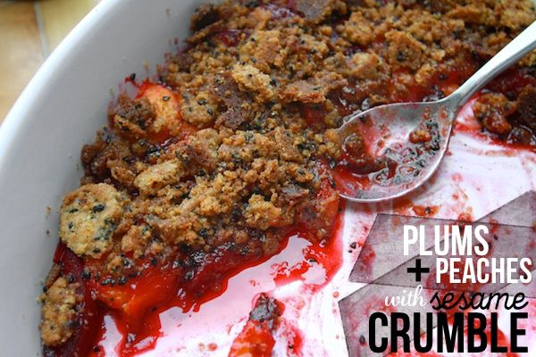 PEACHES & PLUMS WITH SESAME CRUMBLE // shutterbean: Desserts Shooter, Desserts Noms, Desserts Desserts, Crisp, Sesame Crumble, Heart Desserts, Peaches, Healthy Desserts, Fruit Crumble