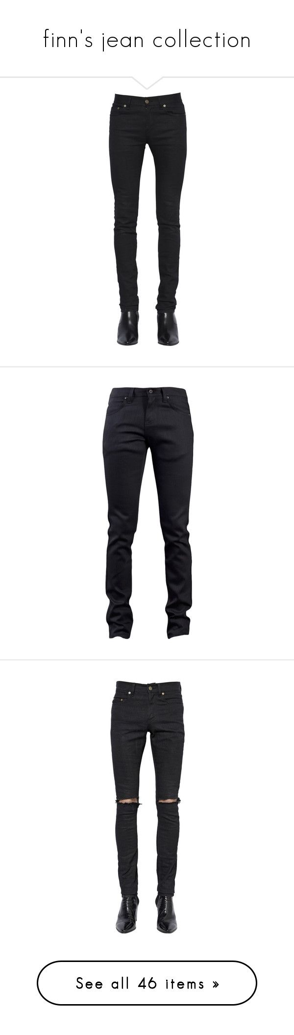 """""""finn's jean collection"""" by pil0tj0nes ❤ liked on Polyvore featuring men's fashion, men's clothing, men's jeans, jeans, pants, black, mens super skinny jeans, mens skinny fit jeans, mens button fly jeans and mens skinny jeans"""