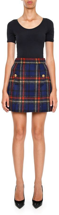 Miu Miu Check Velour Skirt