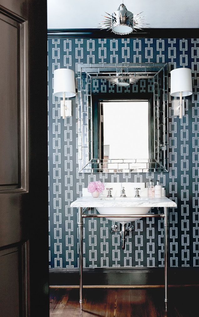 144 best images about beautiful powder rooms on pinterest for Navy bathroom wallpaper