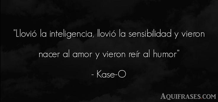 Frase de amor  de Kase-O. Llovió la inteligencia,