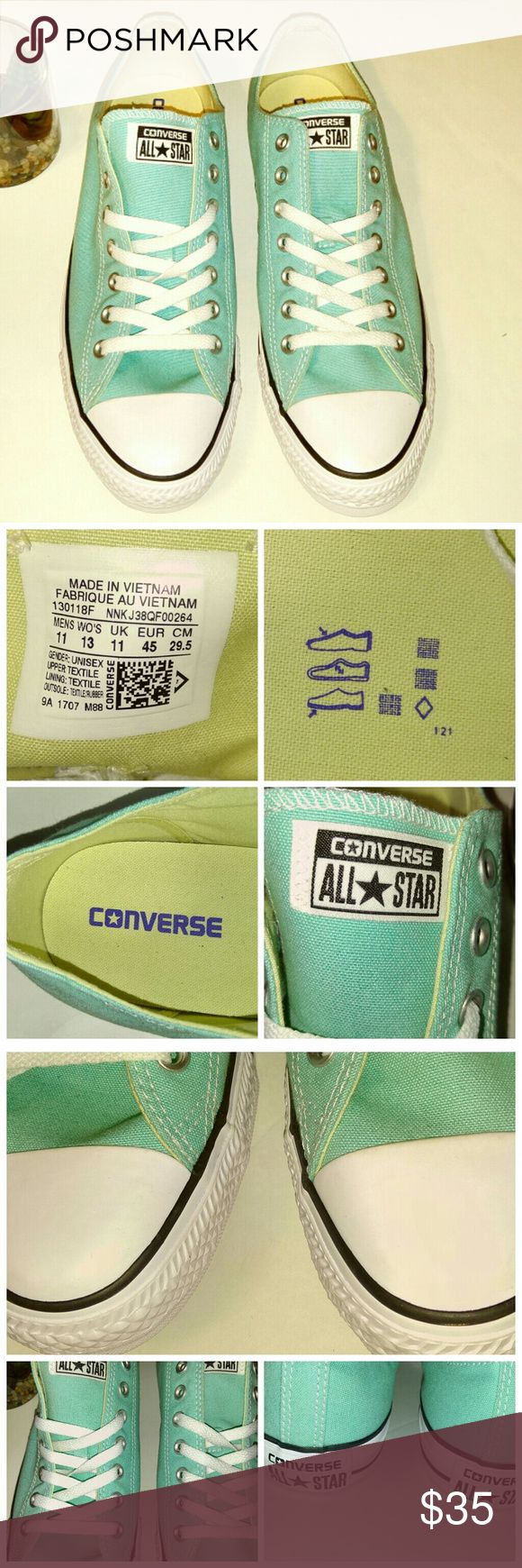 NWOB Unisex Converse Light Teal Sneakers *These brand new Converse are nice, and comfy!  They are a light teal color, with white laces, and silver hardware.  They are unisex, and so versatile.  They are a Women's size 13, and a Men's size 11.  On the white rubber part you can see minor faint marks.  Nothing major.  You cannot see when the are on.  These sneakers are made for comfort, and all day wear.  They are super functional!* Converse Shoes Sneakers
