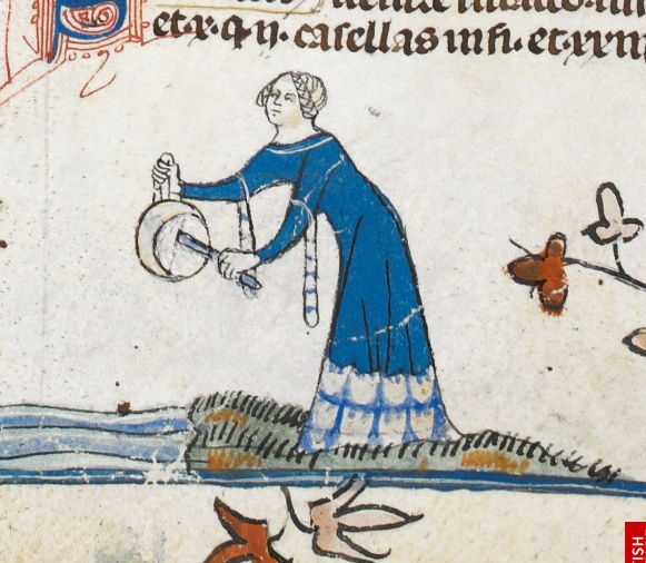 Smithfield decretals. 1300-1340  Fur on hem?
