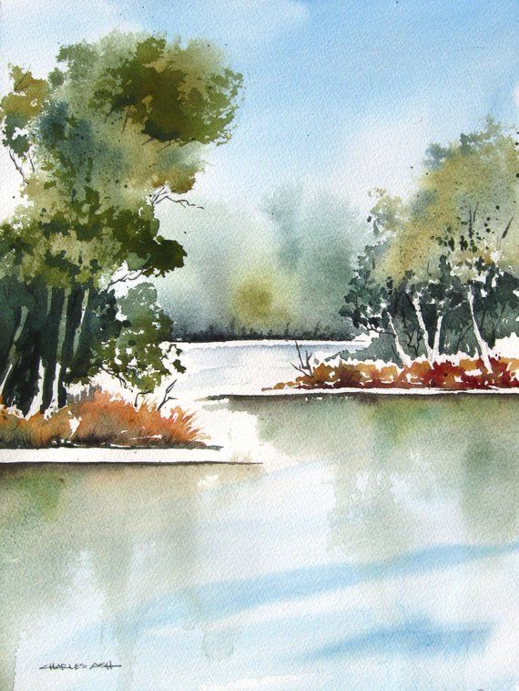Cottonwood Bend Original Watercolor Painting Watercolor