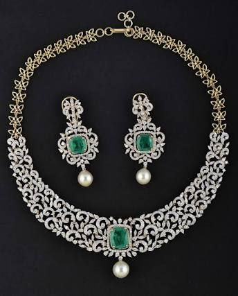 Image result for emerald diamond necklace