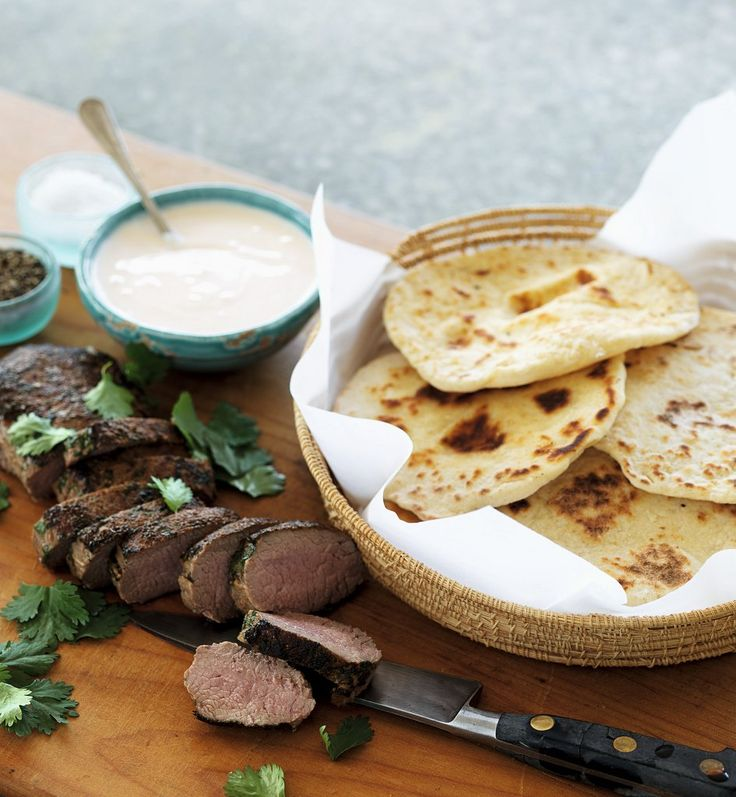 Moroccan-spiced Lamb with Coriander, Flat Bread & Chilli Yoghurt