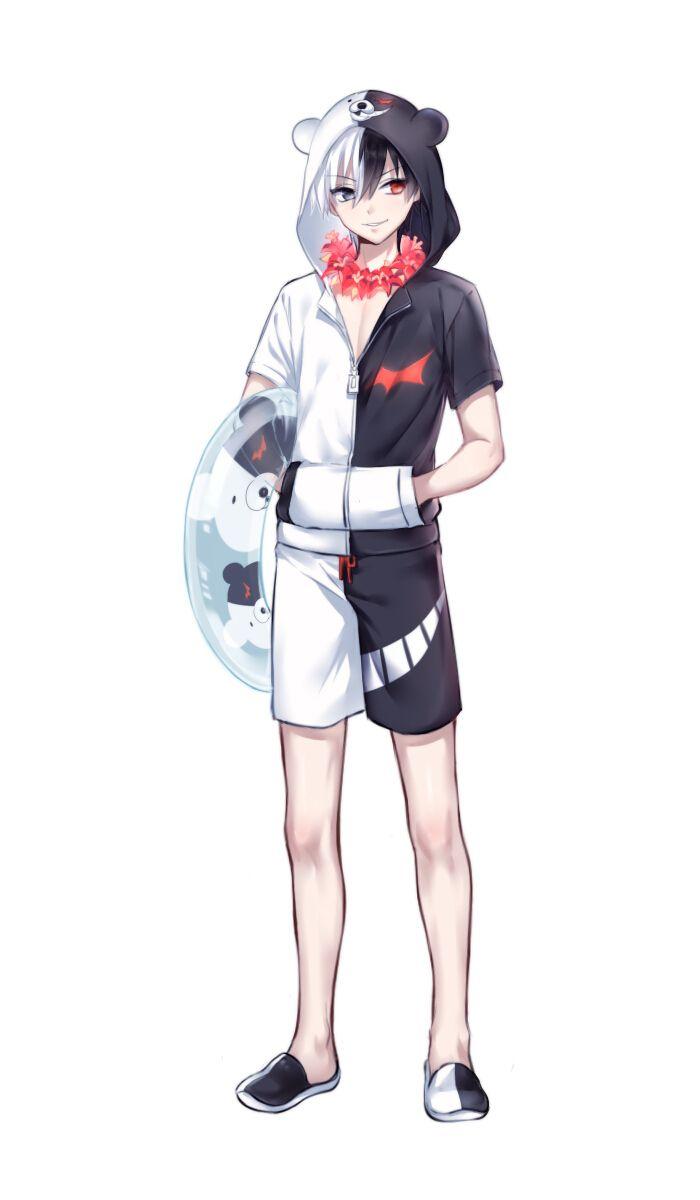 anime heterochromia / odd eyes black red (Monokuma dangan ronpa)