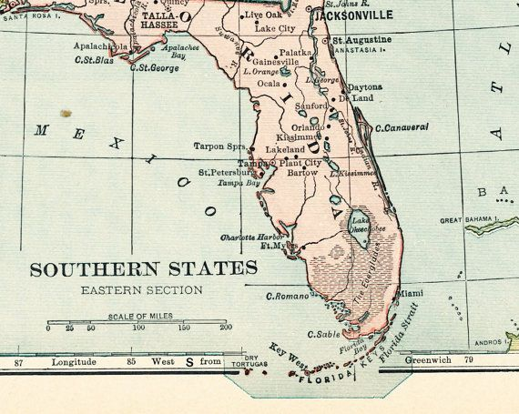 1920s Florida map Southern States map gulf states Gulf of Mexico map ...